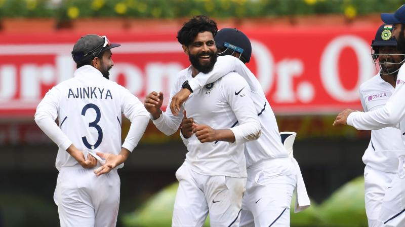The duo of Hamza and Bavuma put up a much-needed fight for South Africa before Jadeja provided the breakthrough by dismissing Hamza for 62 with a straighter one. (Photo: AFP)