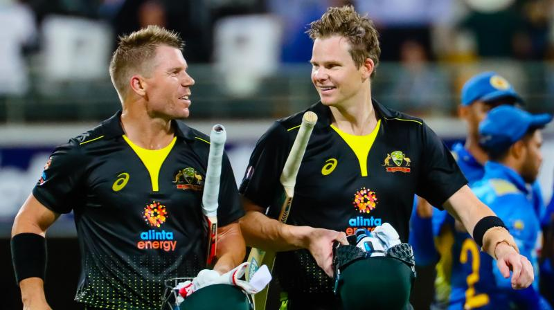 David Warner and Steve Smith came together after Aaron Finch was caught down the leg side off Lasith Malinga for a golden duck, and the pair produced a batting masterclass. (Photo: AFP)