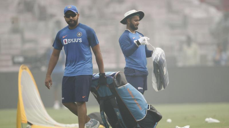 Rohit Sharma was forced to leave the net practice after he was hit on the left thigh off a delivery. (Photo: Twitter/ BCCI)