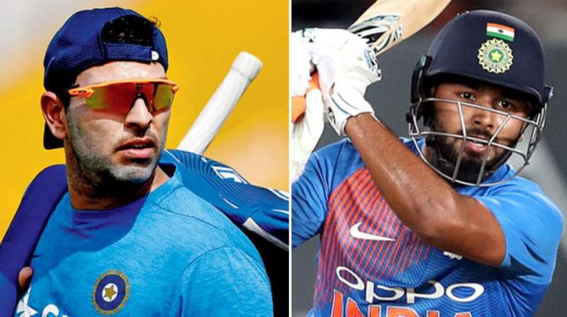 Yuvraj SIngh also said under-fire Rishabh Pant was not sure whether to hit the ball or rotate the strike but insisted that he should also be given a long-run. (Photo: AFP Collage)