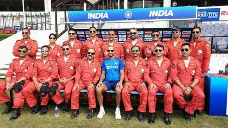 Suryakiran Aerobatic Team of the Indian Air Force spent time with the national cricketers ahead of the series decider against Bangladesh. (Photo: Instagram/ Shikhar Dhawan)