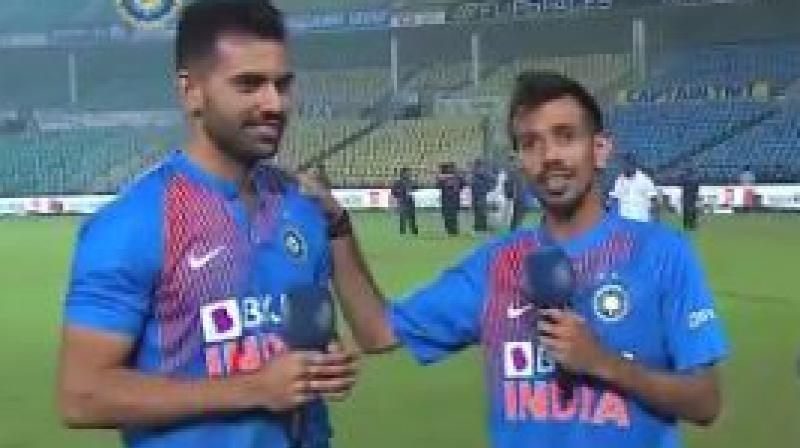 BCCI shared a video on Twitter in which Deepak Chahar and Shreyas Iyer can be seen talking to the Yuzvendra Chahal on his talk-show 'Chahal TV'. (Photo: Twitter/ BCCI)