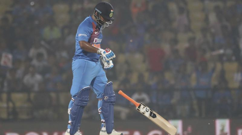 After botching up a stumping in the second Twenty20 in Rajkot, Rishabh Pant perished while attempting a slog in the series-decider here on Sunday. (Photo: AP)
