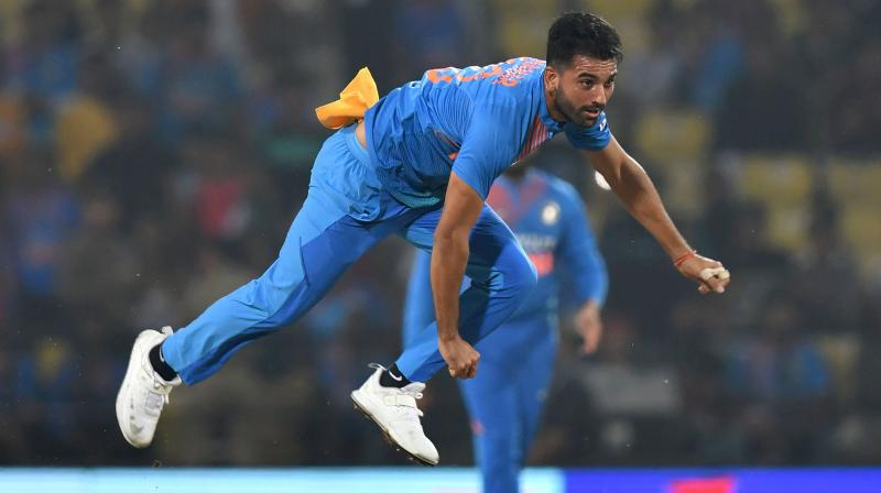 Deepak Chahar moved up 88 slots to 42nd in the latest ICC T20 rankings for bowlers. (Photo: AFP)