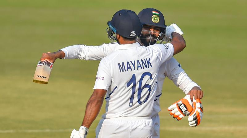 Mayank Agarwal played a knock of 243 runs with the help of 28 fours and eight sixes. (Photo: PTI)