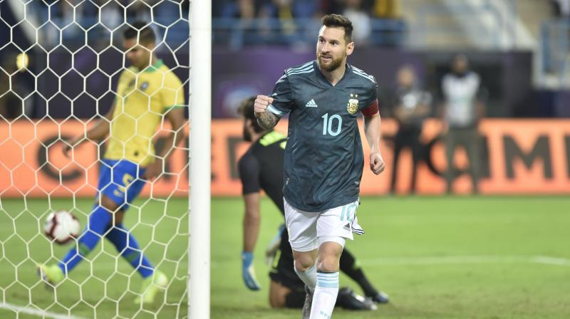 Argentina were also awarded a penalty five minutes Brazil missed a penalty and although Brazilian keeper Alisson saved Lionel Messi's initial effort, the Barcelona striker followed up to put Argentina 1-0 ahead. (Photo: AP)