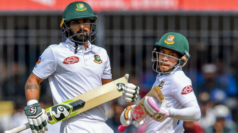Mushfiqur Rahim was unbeaten on 53 and Mehidy Hasan was batting on 38 at the break. (Photo: AFP)