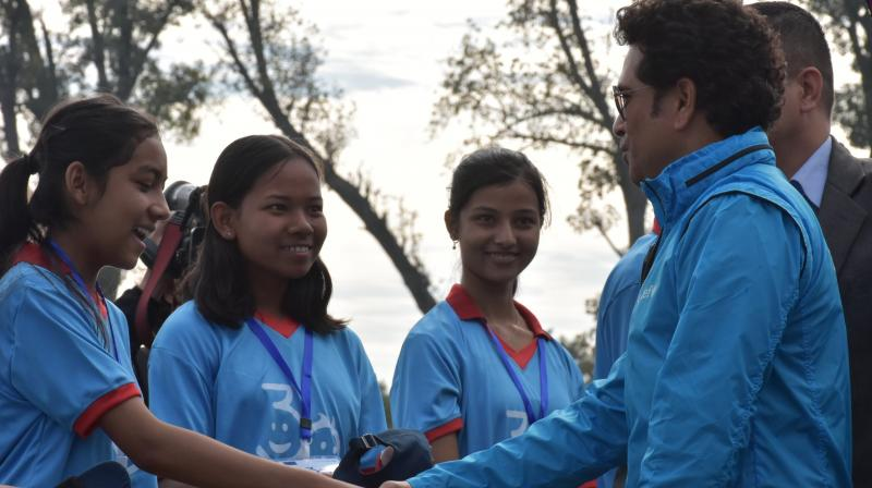 Sachin Tendulkar was appointed UNICEF's first brand ambassador for South Asia in November 2013 and his put his weight behind several issue including empowering girls through sports. (Photo: Twitter/ UNICEF Nepal)