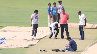 BCCI president Sourav Ganguly inspects Eden Gardens pitch before India vs Bangladesh encounter