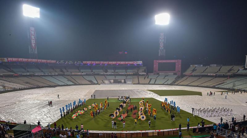 Security concerns meant the Cricket Association of Bengal cancelled its plan to have Army paratroopers flying into the Eden Gardens to hand over a pink ball each to the captains before the toss of the day-night Test. (Photo: PTI)