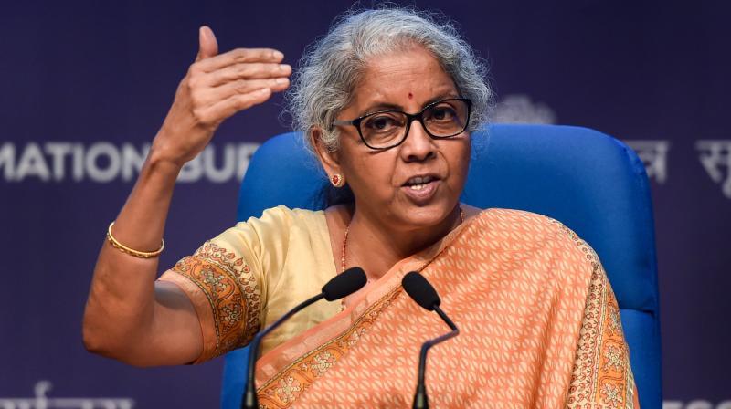 Union Finance Minister Nirmala Sitharaman speaks during a press conference at NMC in New Delhi, Thursday, Sept. 16, 2021. (PTI /Manvender Vashist)