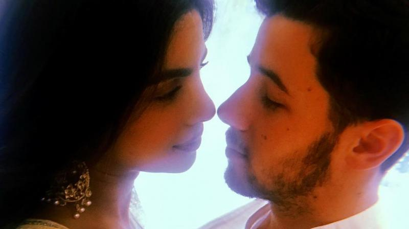 The picture that Priyanka Chopra and Nick Jonas shared on Instagram.