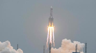 China's biggest rocket landed in the Indian Ocean on Sunday
