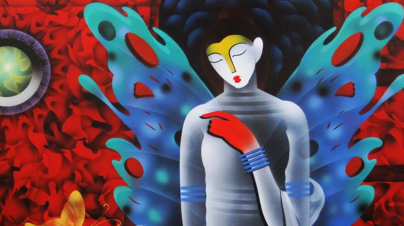 Artist has endeavored to depict subtle nuances of energy in vivid arenas using the 5 eternal elements as iconic muses.