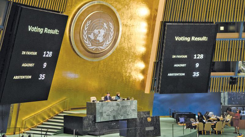 The UN General Assembly voted 128-9 with 35 abstentions in favour of a non-binding resolution declaring President Donald Trump's recognition of Jerusalem as Israel's capital 'null and void', a smaller margin than the Palestinians hoped for but also a rebuke to the US, which is threatening to cut funding for those who voted 'yes'. (Photo:  AP )