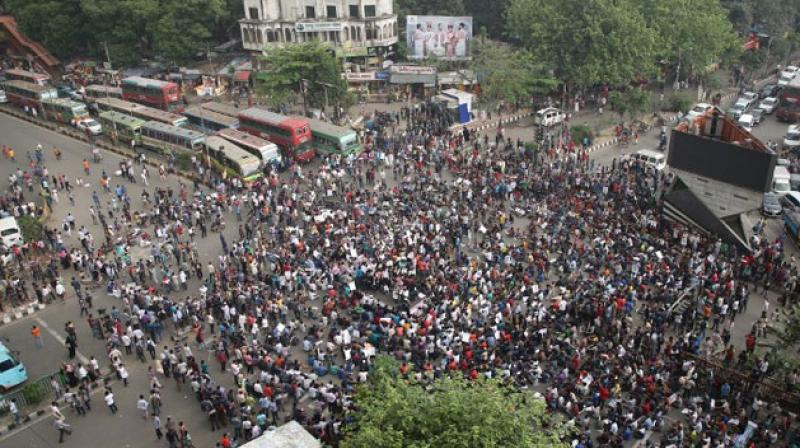 Organisers in Dhaka said they were holding peaceful protests when police started firing tear gas and rubber bullets. They used batons and water cannon to clear a central square. (Photo: AFP)