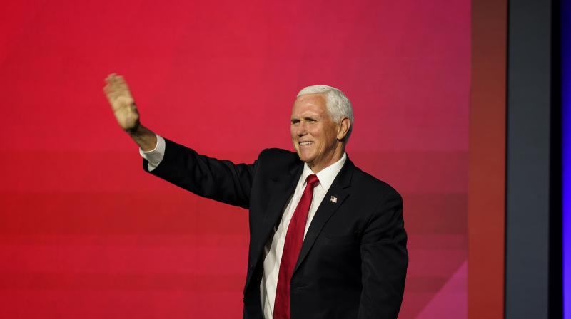 Vice President Mike Pence greets the crowd before he speaks during a Faith and Freedom Coalition policy conference. (AP)
