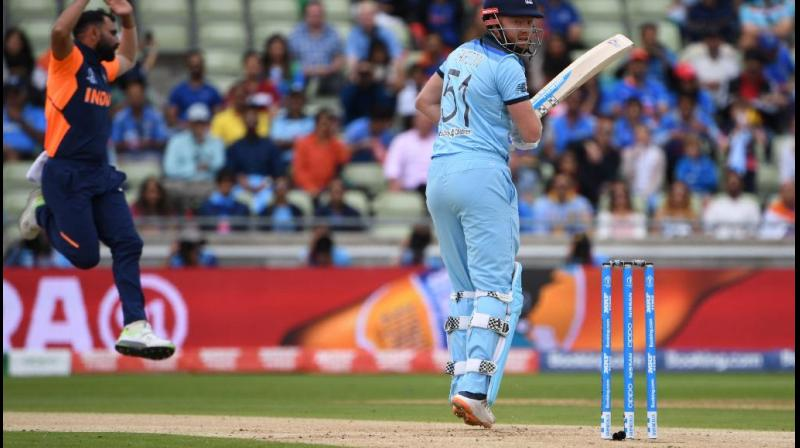 Chasing 338, India's innings got off to a slow start as the team was not even able to score 40 runs in the first ten overs. Sharma, however, said that the credit needs to be given to the England bowlers. He even defended MS Dhoni and Kedhar Jadhav for their baffling approach in the death overs. (cricketworldcup/twitter)
