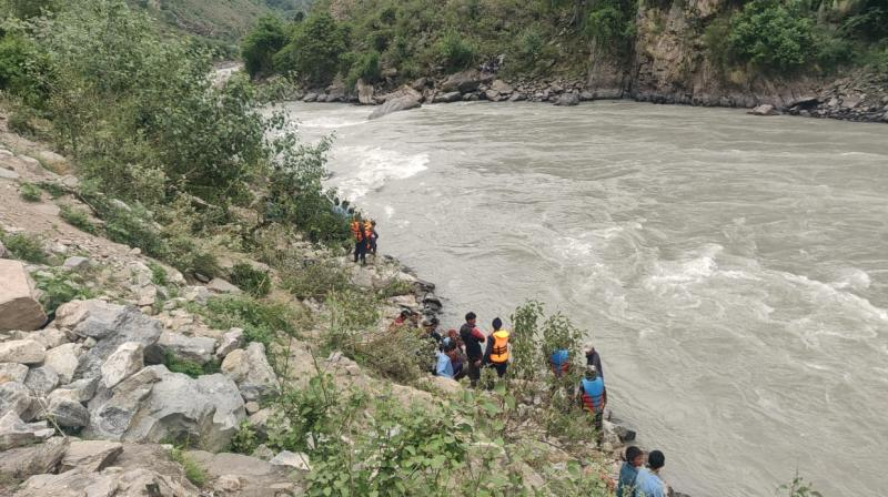 The accident took place when the jeep heading towards Kailebalu veered off the road and plunged into the river in the afternoon. (Photo: ANI)