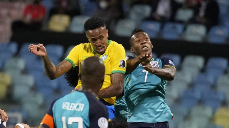 Eder Militao scores the opening goal against Ecuador during the Copa America fixture in on Sunday. (Photo: AP)