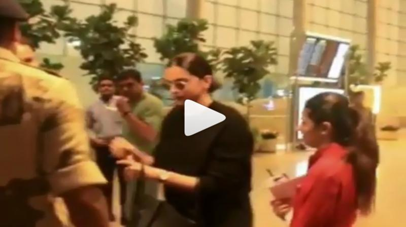 Deepika Padukone asked for her ID proof by Mumbai airport security guard. (Photo: Viral Bhayani)