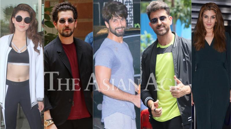 Bollywood celebrities like Hrithik Roshan, Urvashi Rautela, Shahid Kapoor, Raveena Tandon, Arjun Rampal, Pulkit Samrat, Kirti Kharbanda and others were spotted in Mumbai. (Photos: Viral Bhayani)