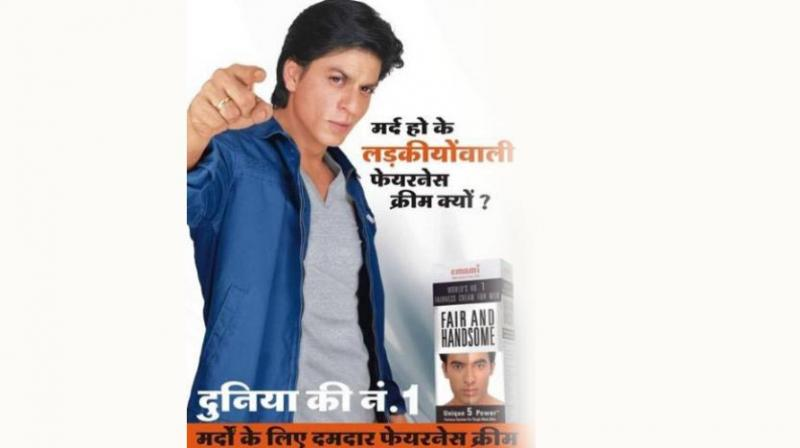Movie idol Shah Rukh Khan has made his pile promoting a whitening cream, whatever it may be, for men. (Representational image)