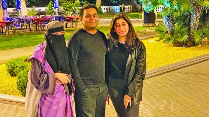 AR Rahman with daughter Khatija and Raheema
