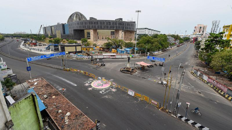 A deserted intersection in Chennai as a total civil curfew was clamped on the capital of Tamil Nadu and several other cities. (PTI)