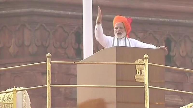 Prime Minister Narendra Modi address the nation on the 72nd Independence Day. (Photo: Twitter | ANI)