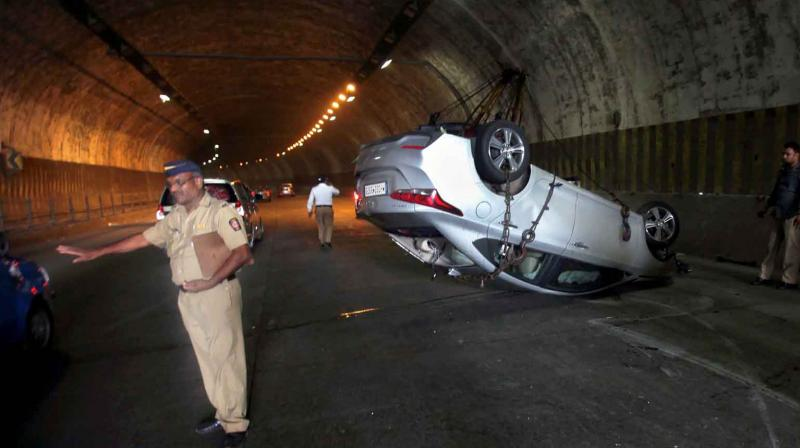 A car accident on the city's busy Eastern freeway tunnel, near the suburban area of Chembur, in Mumbai. (Photo: PTI)