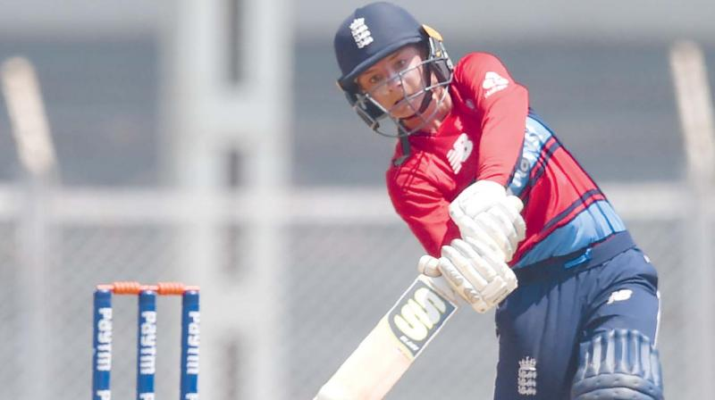 England's Danielle Wyatt in action in their women's Twenty20 tri-series match against India at the Brabourne Stadium in Mumbai. (Photo: AFP)