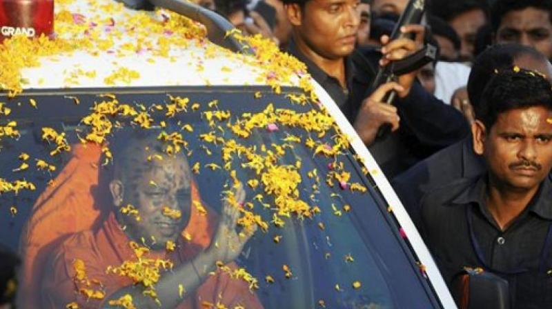 UP Chief Minister Yogi Adityanath arrives at his native place in Gorakhpur, first time after he became CM. (Photo: AP)