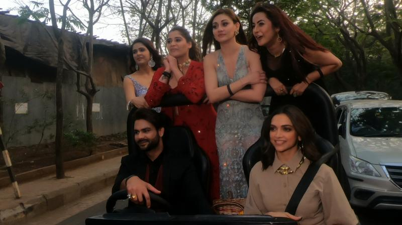 Deepika Padukone with Bigg Boss 13 contestants.