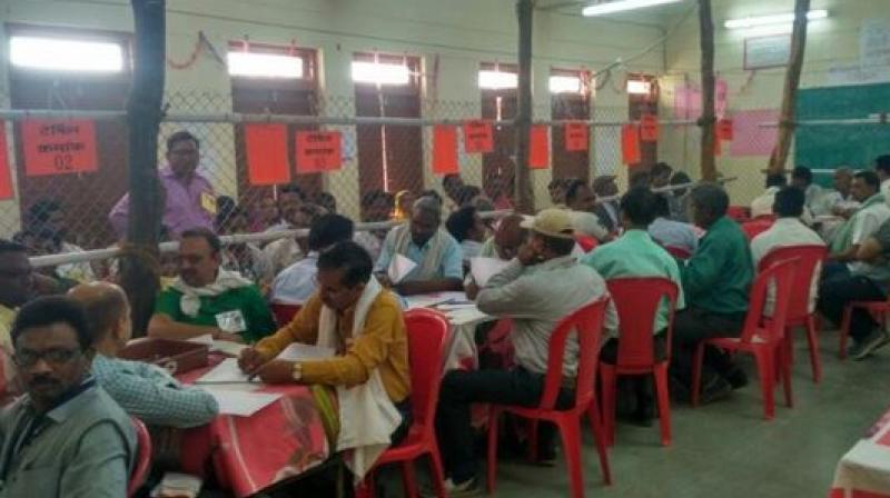 Counting of votes underway in Bhind, Madhya Pradesh. (Photo: ANI/Twitter)