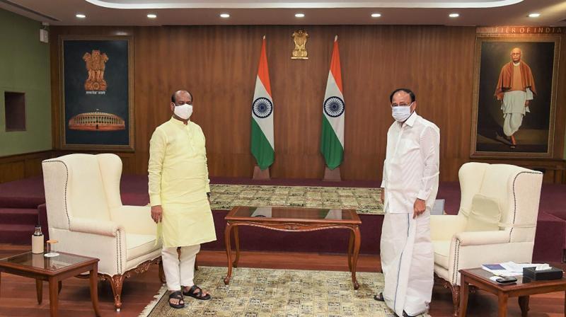 Vice President and Rajya Sabha Chairman M Venkaiah Naidu with Lok Sabha Speaker Om Birla during their meeting in New Delhi, Thursday, Aug 12, 2021. (PTI Photo)