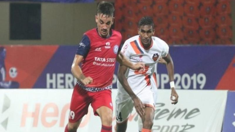 In the 69th minute, Pablo Morgado scored Jamshedpur's first goal and reduced the Goa's lead to two goals. But just four minutes later, Goa again scored a goal restoring their three-goal lead. (Photo: AIFF)