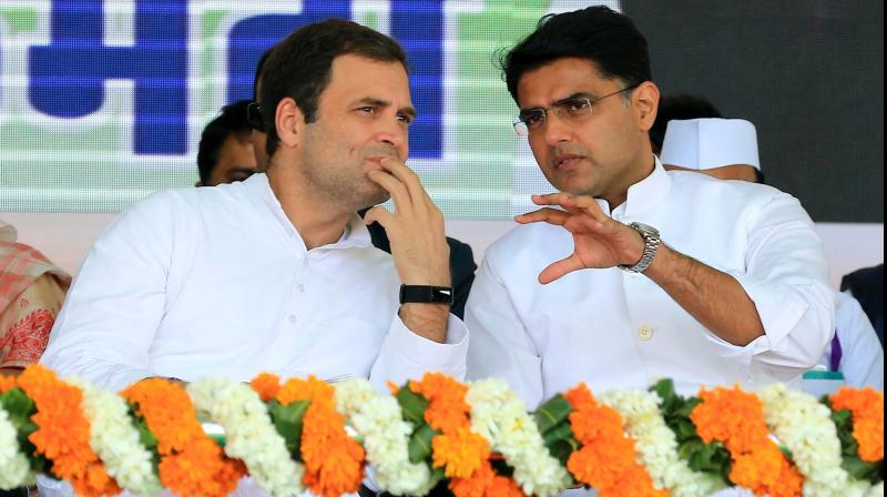In this file photo the rebel Congress leader Sachin Pilot (R) is seen with the then Congress President Rahul Gandhi during a rally in Jaipur. PTI Photo