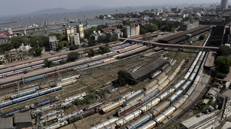 Trains stand parked at the Chhatrapati Shivaji Maharaj Terminus on Sunday during the nationwide shutdown called by prime minister Narendra Modi. The Railways announced that its passenger services will be shut down until March 31. (AP)