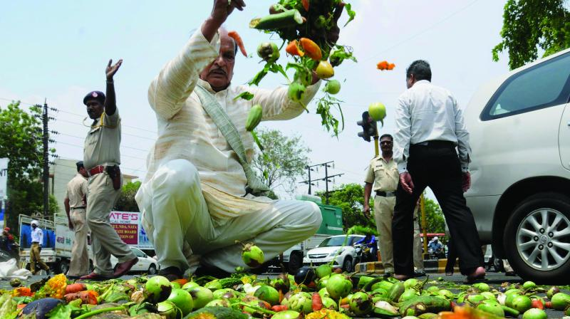 Farmers throw vegetables on a road during a protest as part of the Maharashtra bandh over various demands in Nagpur, Maharashtra. (Photo: PTI )