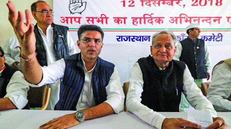 Congress leader Sachin Pilot and Rajasthan chief minister Ashok Gehlot. (PTI)