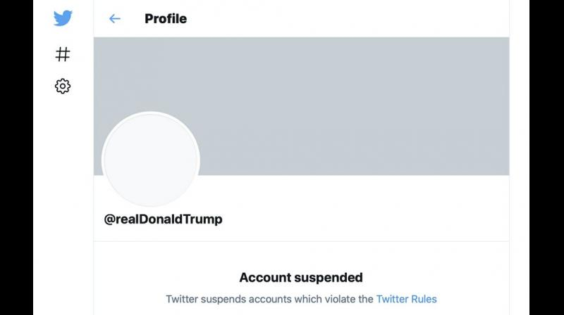 The suspended Twitter account of President Donald Trump. On Friday, the social media company permanently suspended Trump from its platform, citing