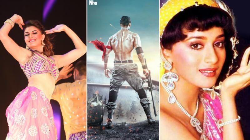 Jacqueline Fernandez dances at an event, Tiger Shroff in 'Baaghi 2' poster, Madhuri Dixit in a photoshoot for 'Tezaab's song 'Ek Do Teen'.