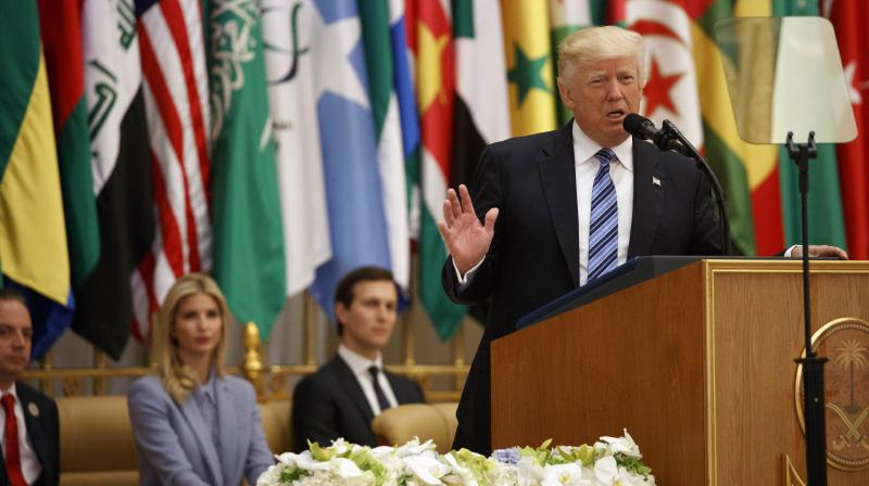 US President Donald Trump delivers a speech to the Arab Islamic American Summit, at the King Abdulaziz Conference Center in Riyadh. (Photo: AP)