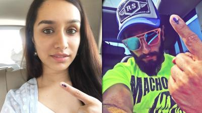 The pictures shared by Shraddha Kapoor and Ranveer Singh on Twitter.