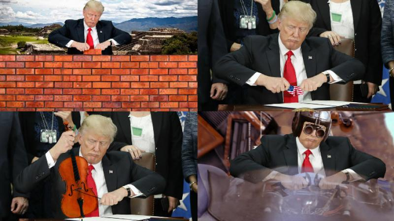 The internet takes yet another dig at Donald Trump when he used his hands in a fashinable way to cap a pen. (Photo: Reddit)
