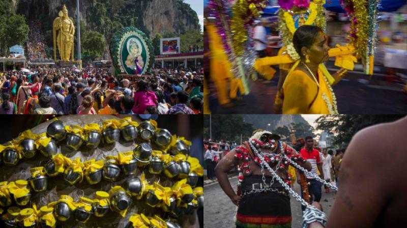 Hindu devotees worship the Hindu God Murugan in Kuala Lumpur during the annual Thaipusam street festival. (Photo: AP)