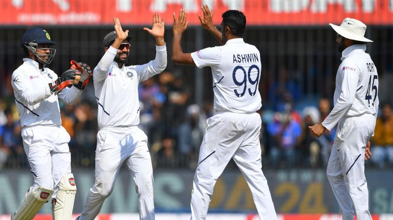 India spinner Ravichandran Ashwin bagged his 250th Test wicket at home during the first match against Bangladesh here on Thursday. (Photo:AFP)