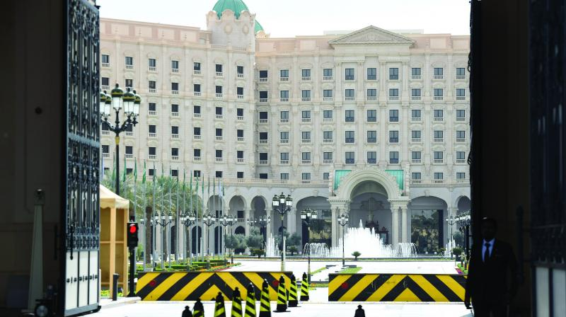 The main entrance of the Ritz Carlton hotel in the Saudi capital Riyadh following its reopening for business, three months after it became a holding place for princes and ministers detained in the biggest anti-graft purge of the kingdom's elite in its modern history. (Photo: AFP)