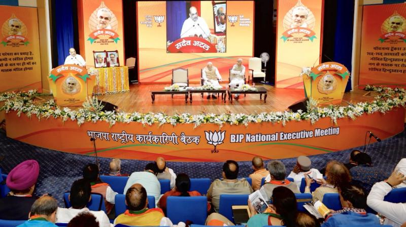 Underlining that the country has now moved towards politics of performance, Amit Shah said theBJPnever relaxed even after assuming power in 2014. (Photo: Twitter | @BJP4India)